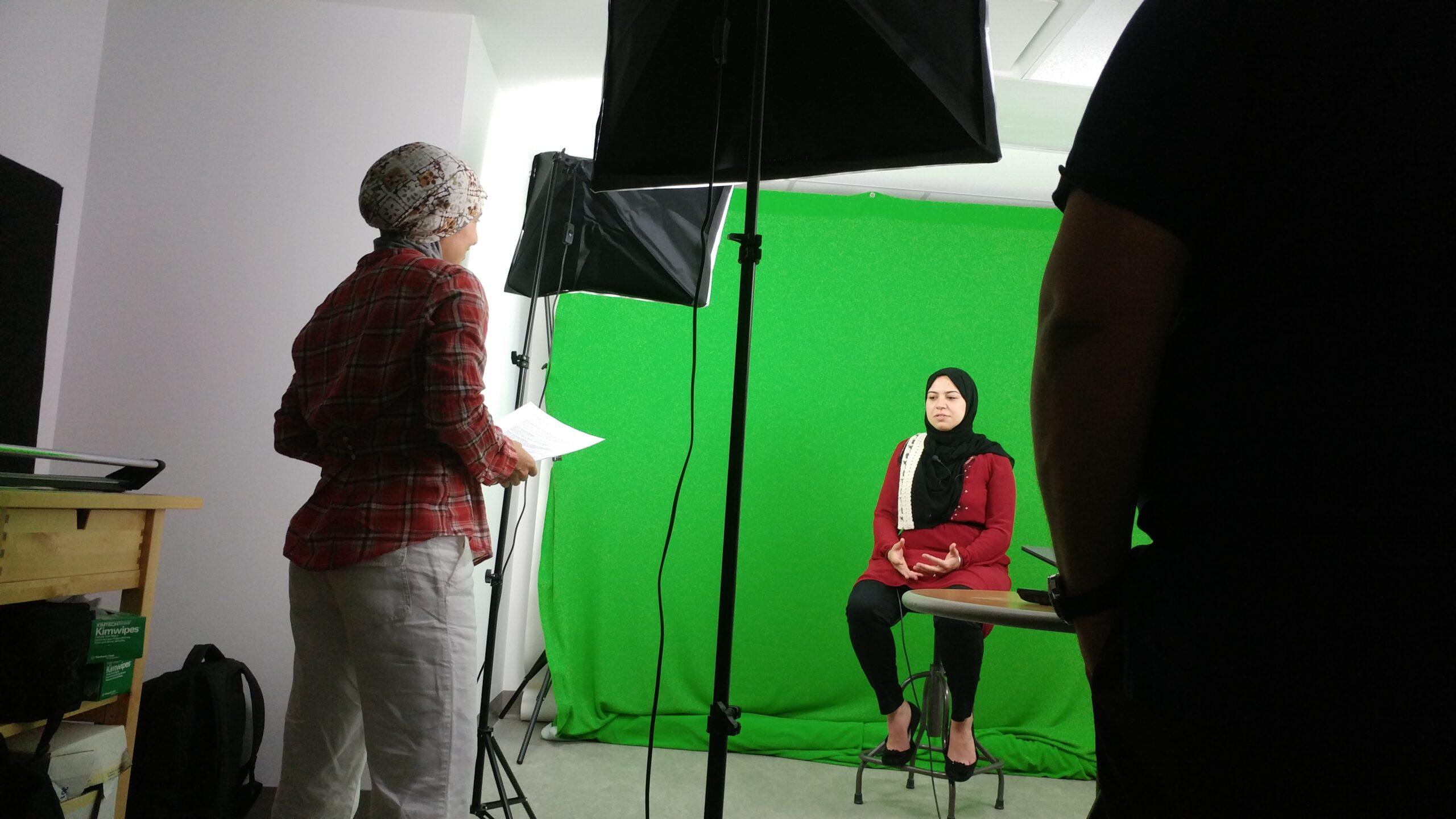 Nadia Abu-Zahra interviews Mozaynah Nofal in the studio at uOttawa.