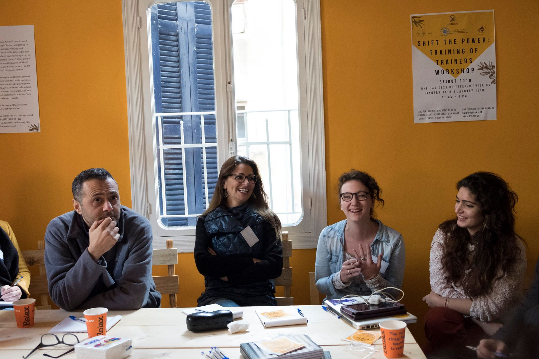 CMIC workshop at Shams Network in Beirut, featuring Diana El Richani of uOttawa (far right) and Megan Kelly of Youth Speak (to Diana's left).