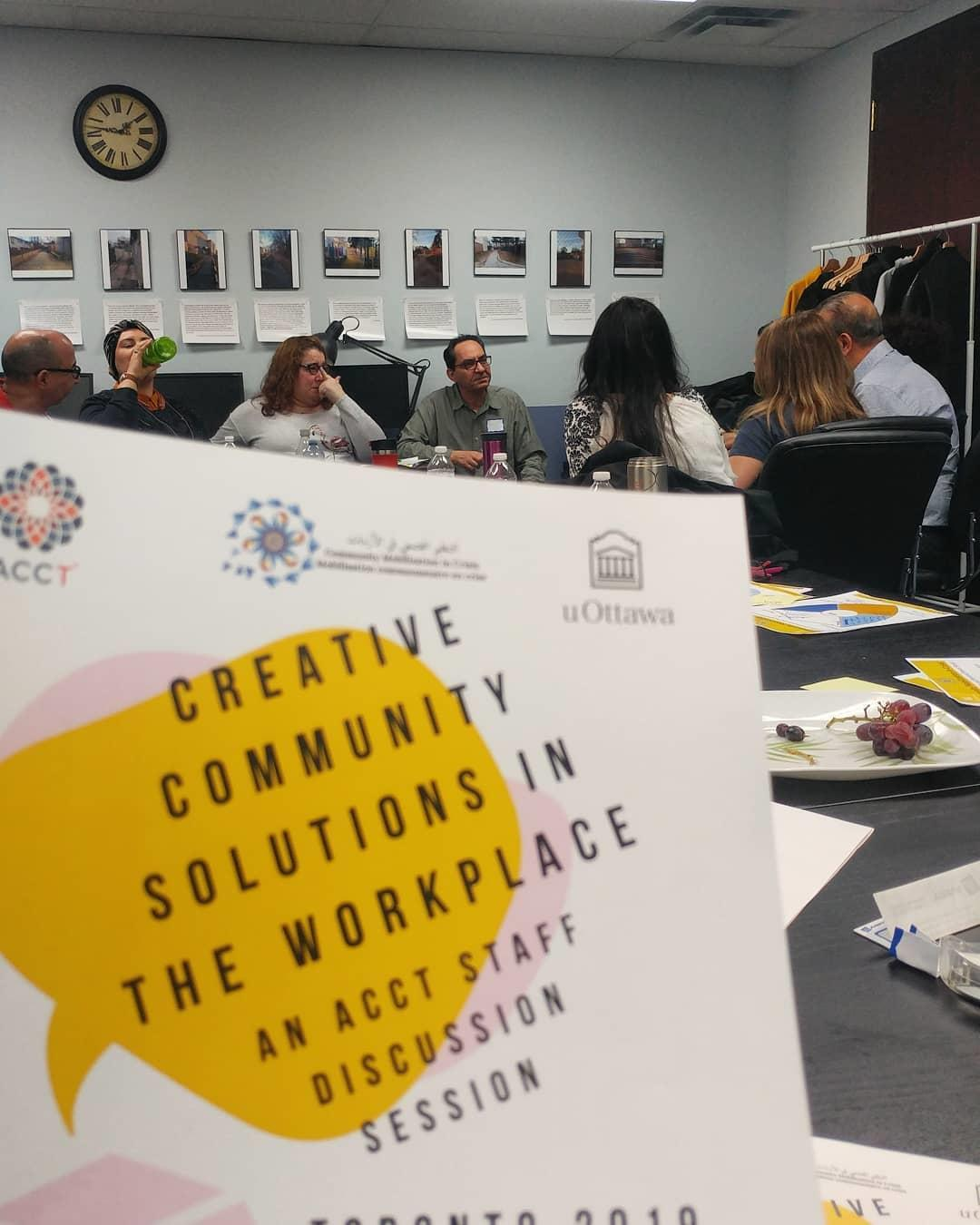 Working with Arab Community Centre of Toronto staff at a workshop at their Scarborough office.